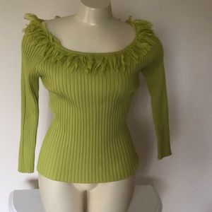 WD. NY top with fringe neckline
